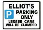 ELLIOT'S Personalised Gift |Unique Present for Him | Parking Sign - Size Large - Metal faced